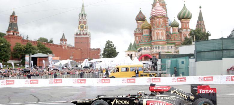 Foto: Davide Valsecchi en una exhibición con Lotus por Moscú.