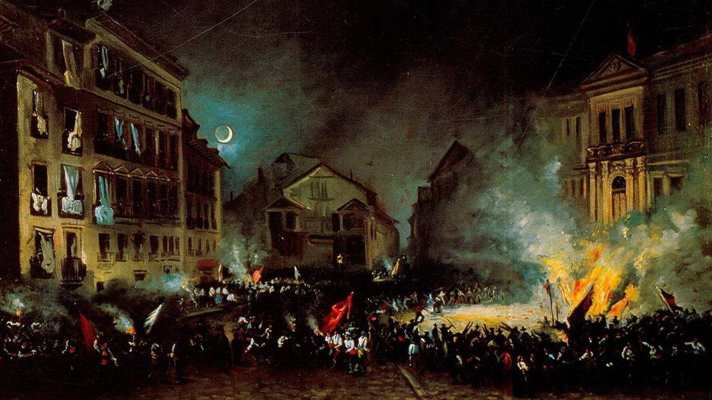 La revolución de 1854 en la Puerta del Sol de Madrid ('La Vicalvarada').