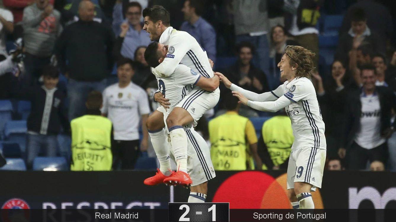 Foto: Morata se abraza a James, la conexión del gol del triunfo. (Susana Vera/Reuters)