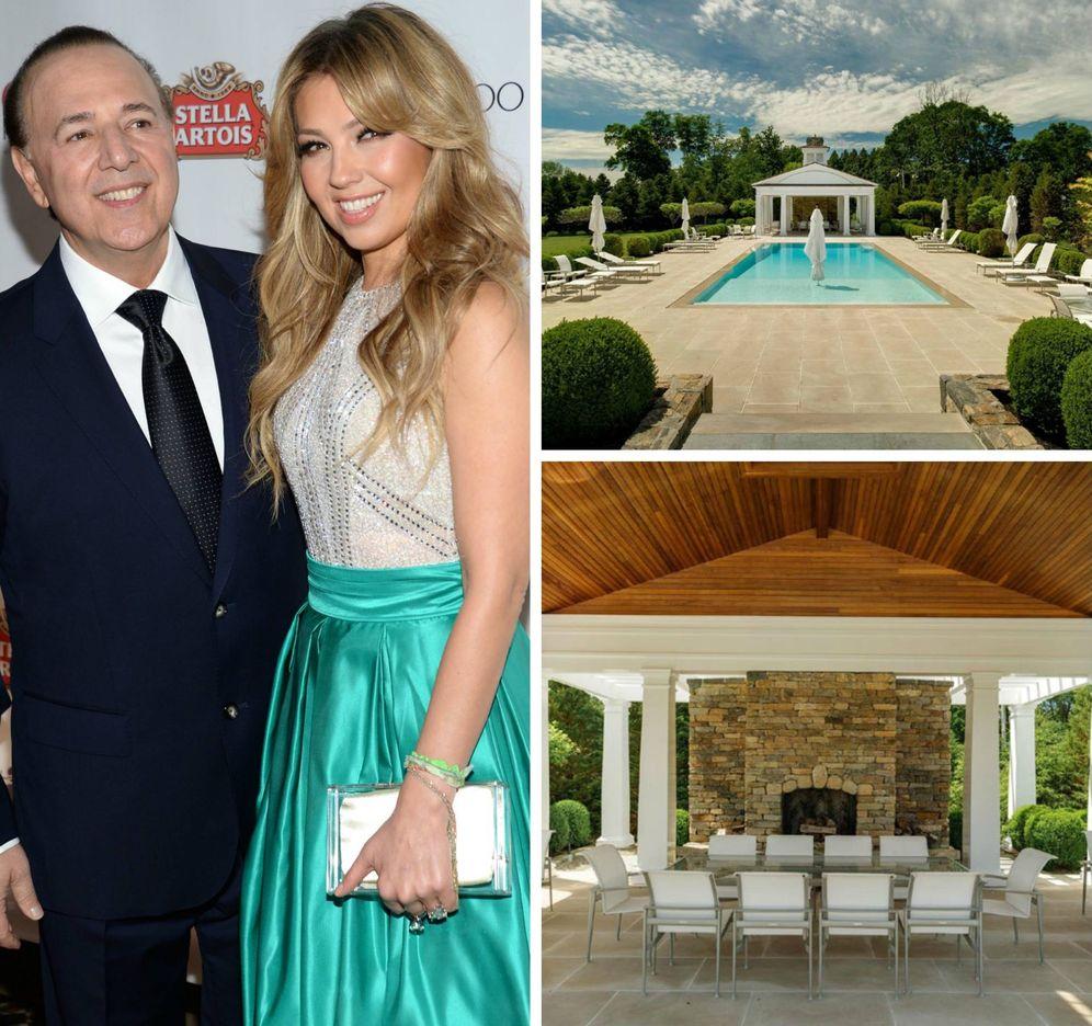 Foto: Thalía con su marido y su mansión.