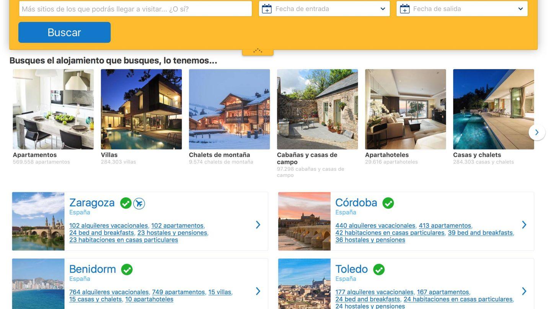 La portada web de Booking ya da más relevancia a los apartamentos que a los hoteles.