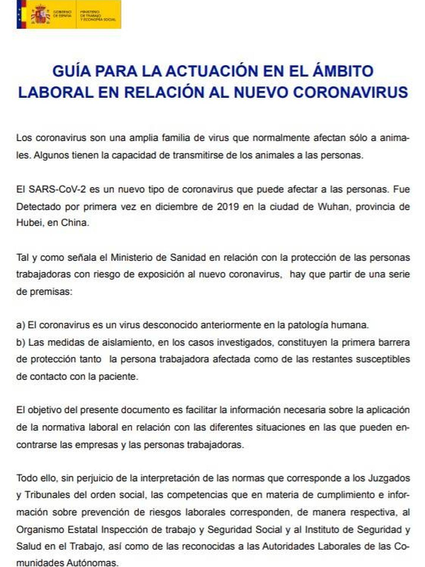 Guía de actuación frente al coronavirus publicada por el Ministerio de Trabajo y Economía Social.