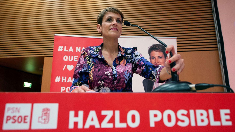 María Chivite, secretaria general del PSN-PSOE, el pasado 9 de mayo en Pamplona, en la apertura de la campaña del 26-M. (EFE)