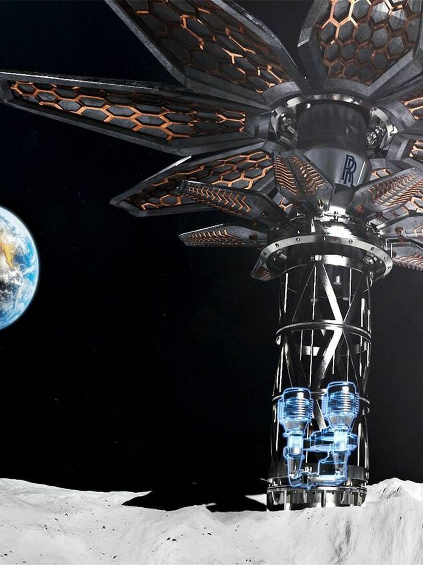 El reactor nuclear utilizado por la nave, en la Luna (Rolls Royce)