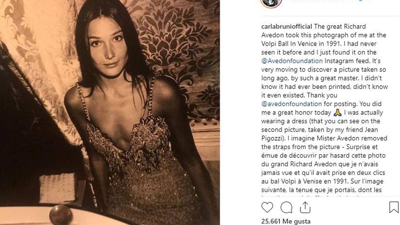 La publicación de Carla Bruni en Instagram. (IG)