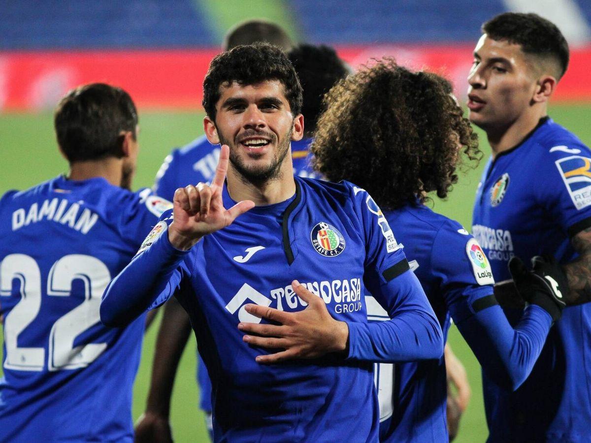 Foto: Carles Aleñá celebra un gol con el Getafe