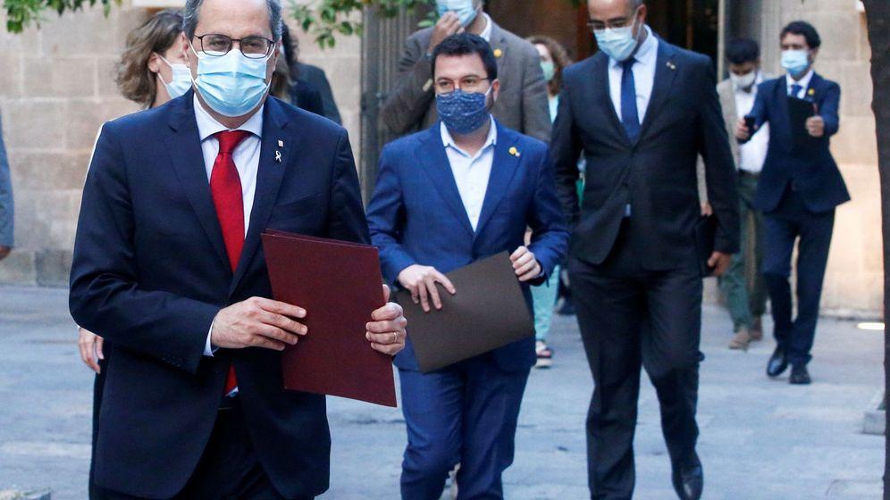 Foto: Torra, Pere Aragonès y otros miembros del Govern. (EFE)