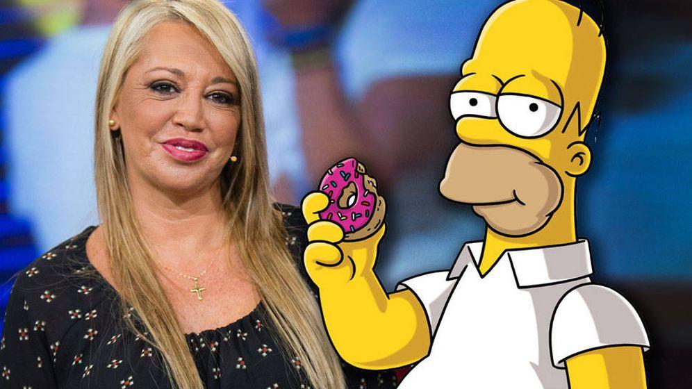 Foto: Belén Esteban y Homer Simpson en un montaje de Vanitatis.