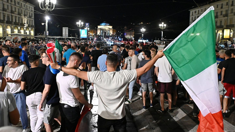 La celebración del partido contra Bélgica en Turín. (Reuters)