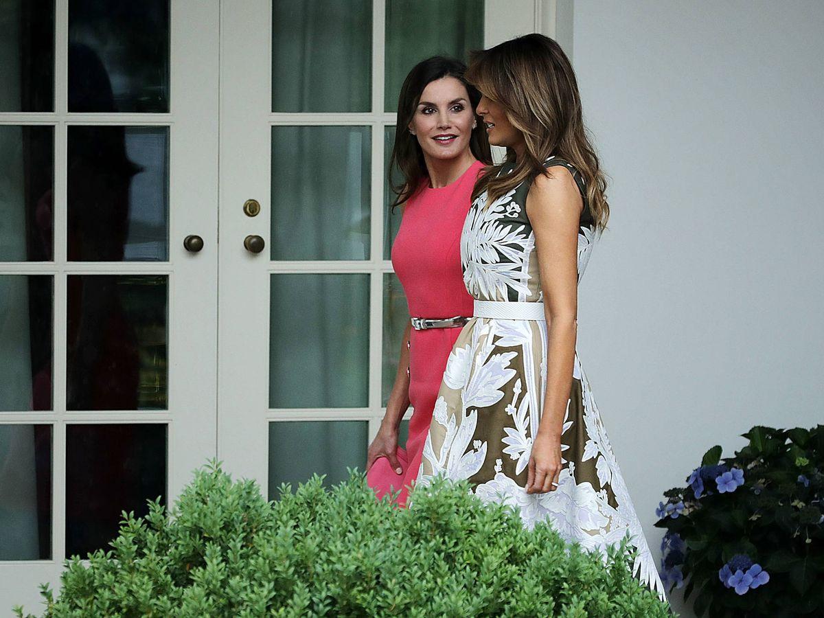 Foto: La reina Letizia y Melania Trump, en la Casa Blanca. (Getty)