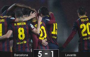El Barça no entiende de crisis y despacha al Levante con otra exhibición de fútbol