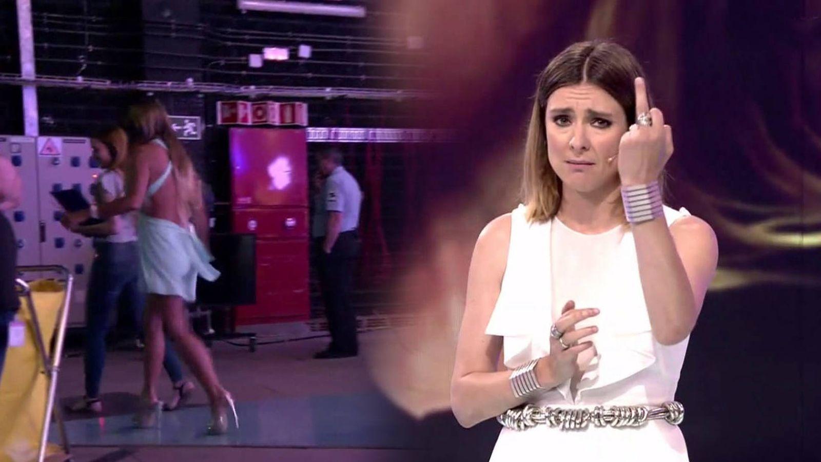 Foto: Sandra Barneda expulsa a Leticia Sabater del plató de 'Supervivientes'. (Mediaset España)
