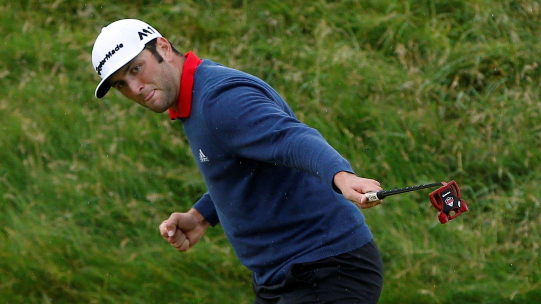 Jon Rahm celebra su 'eagle' del hoyo 14. (Reuters)