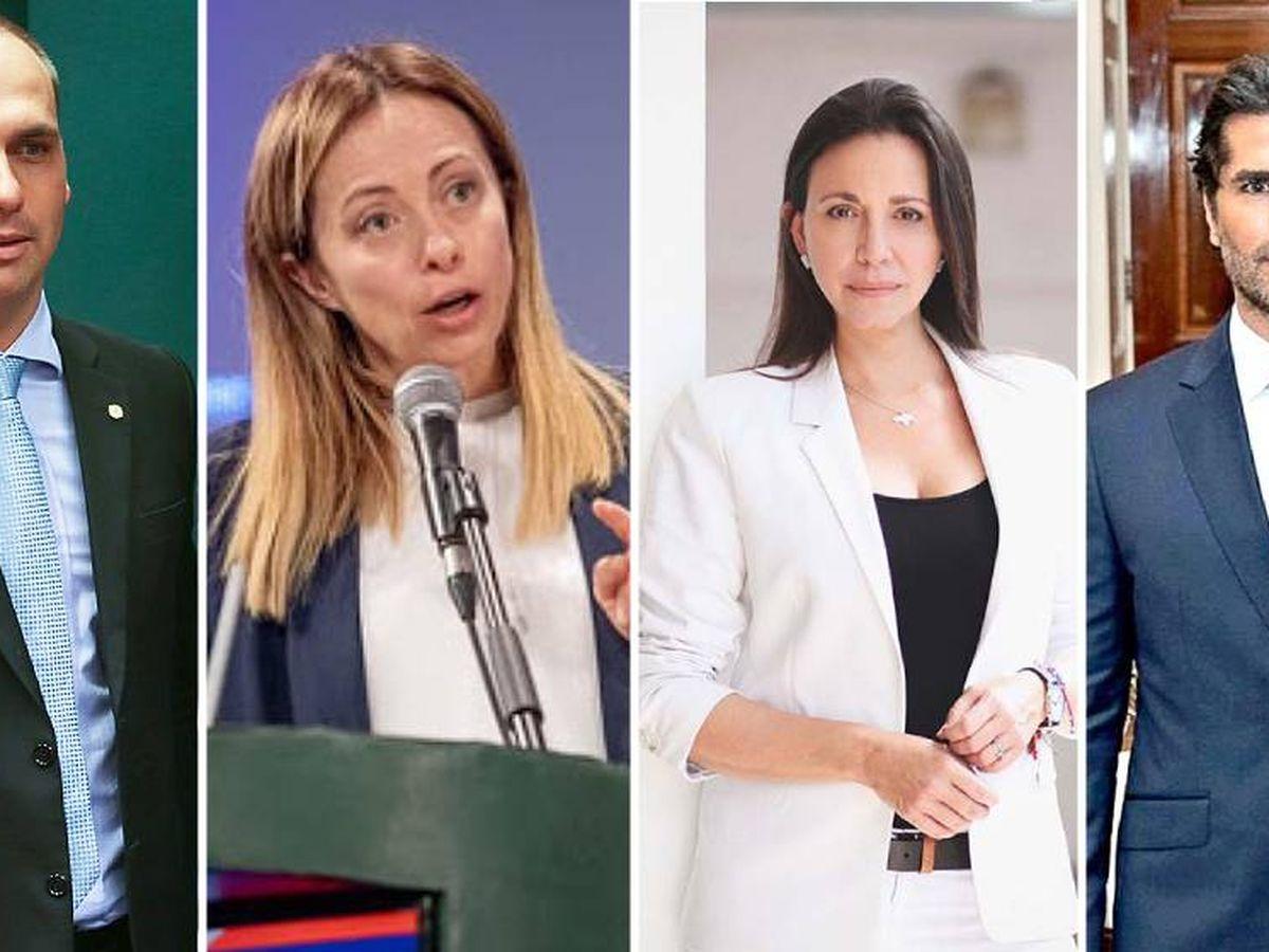 Foto: Algunos de los firmantes, de izquierda a derecha: Eduardo Bolsonaro, Giorgia Meloni, María Corina Machado y Eduardo Verástegui. (EC)