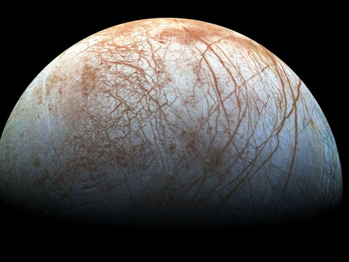 Foto: Foto de Europa, la luna helada de Júpiter, tomada desde la nave espacial Galileo. Foto:NASA.
