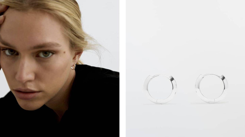 Pendientes de plata de Massimo Dutti. (Cortesía)
