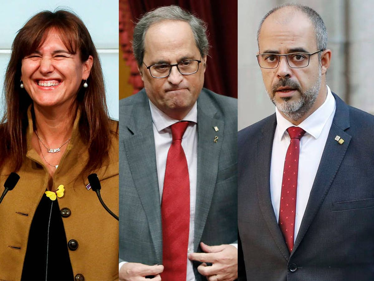 Foto: Francesc de Dalmases, Laura Borràs, Quim Torra, Miquel Buch y Víctor Terradellas. (EFE)
