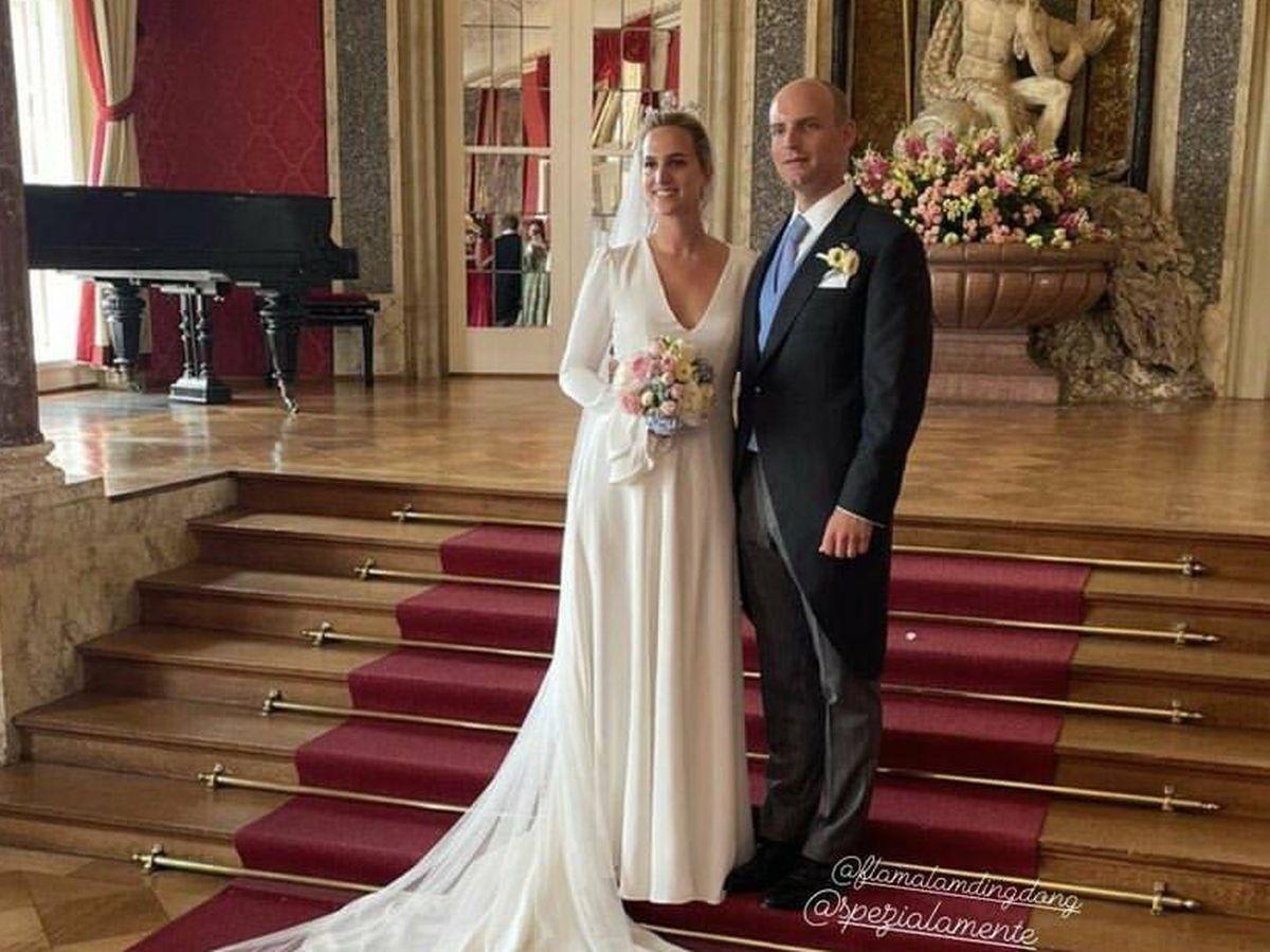 Foto: Flaminia de Hohenzollern-Sigmaringen, con su marido. (Redes)
