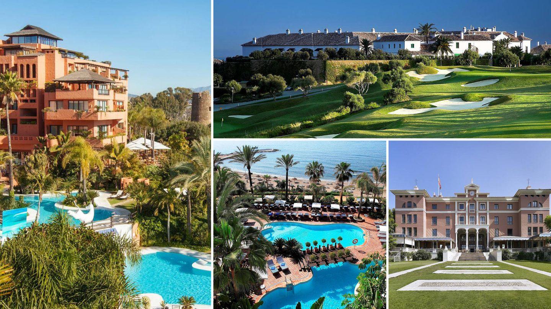 En sentido de las agujas del reloj: hotel Kempinsky, el campo de golf de Finca Cortesín, hotel Villa Padierna y vista aérea del Marbella Club, a pie de playa.