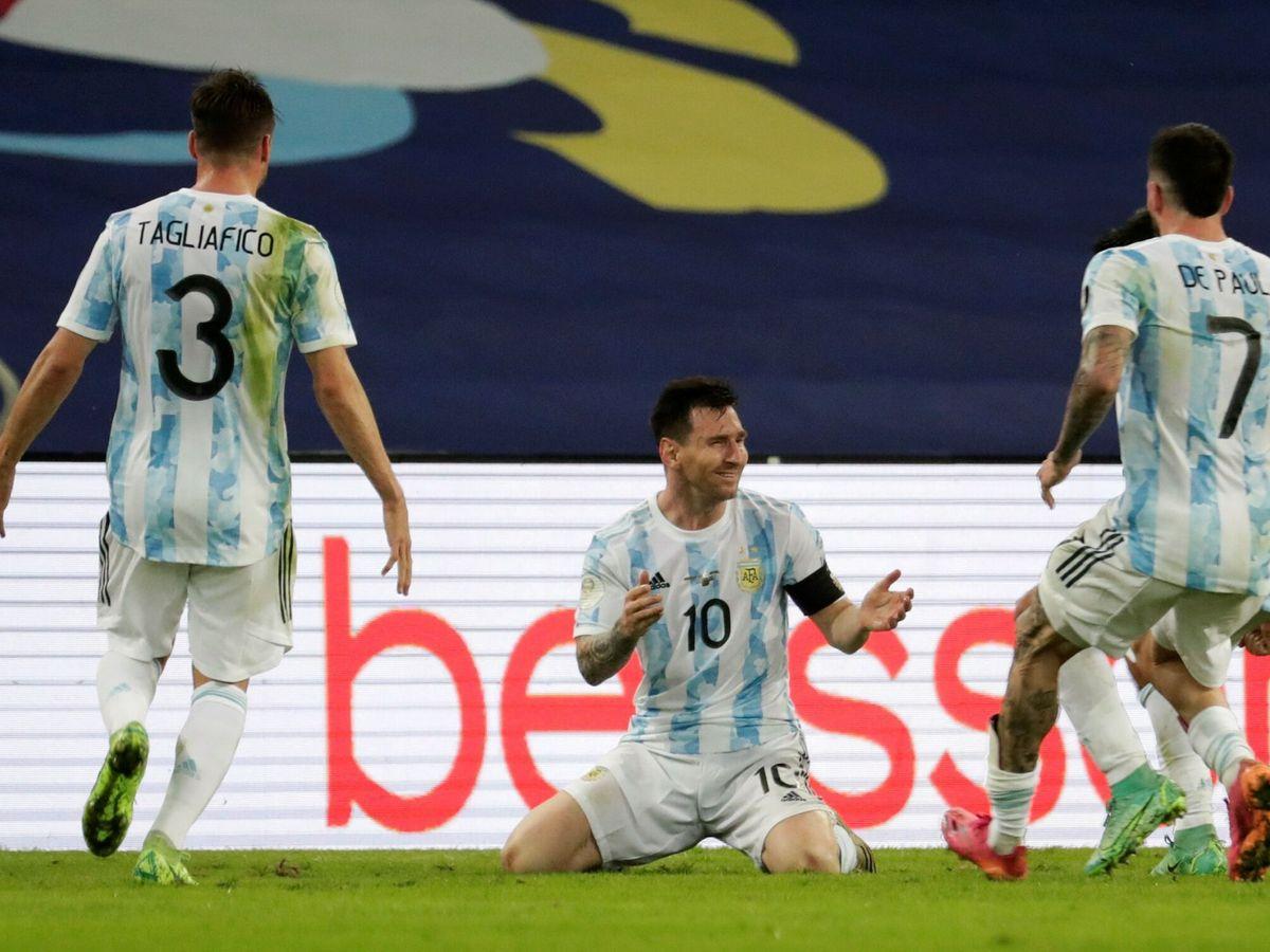 Foto: Messi llorando tras ser campeón con Argentina. (EFE)