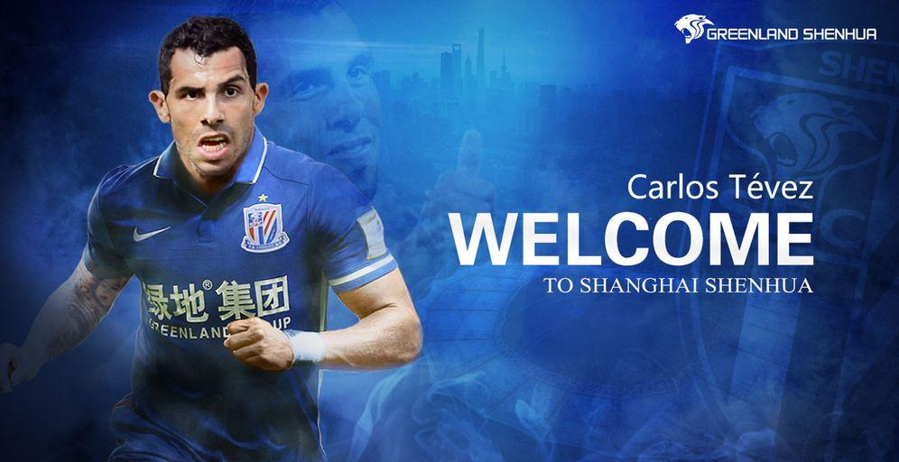 Foto: Cartel en el que el Shanghai Shenhua hace oficial el fichaje de Carlos Tévez (EFE)