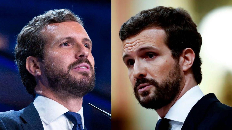 El pelo de Pablo Casado, antes y después. (Getty)