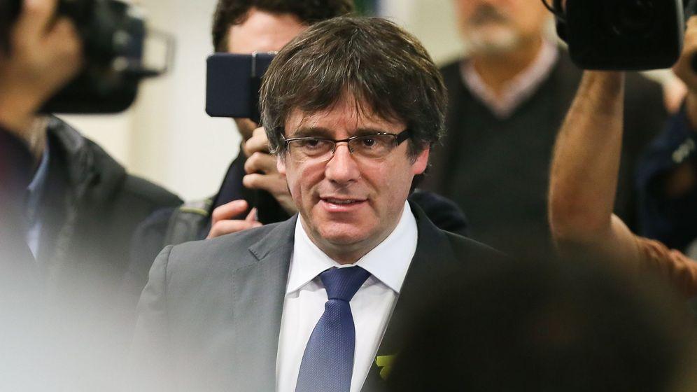 Foto: Carles Puigdemont, durante la rueda de prensa de este viernes. (EFE)