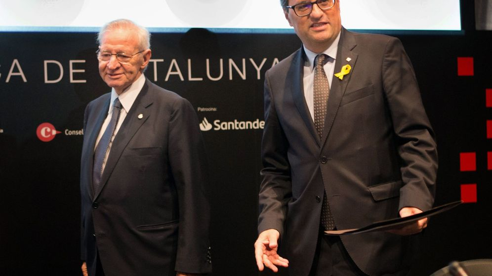 Foto: El presidente de la Generalitat, Quim Torra (d), junto al presidente de la Cámara de Comercio de Barcelona, Miquel Valls. (EFE)
