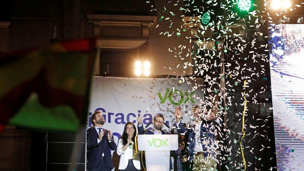 Foto: Santiago Abascal, en la sede de su partido, valora los resultados. (Reuters)