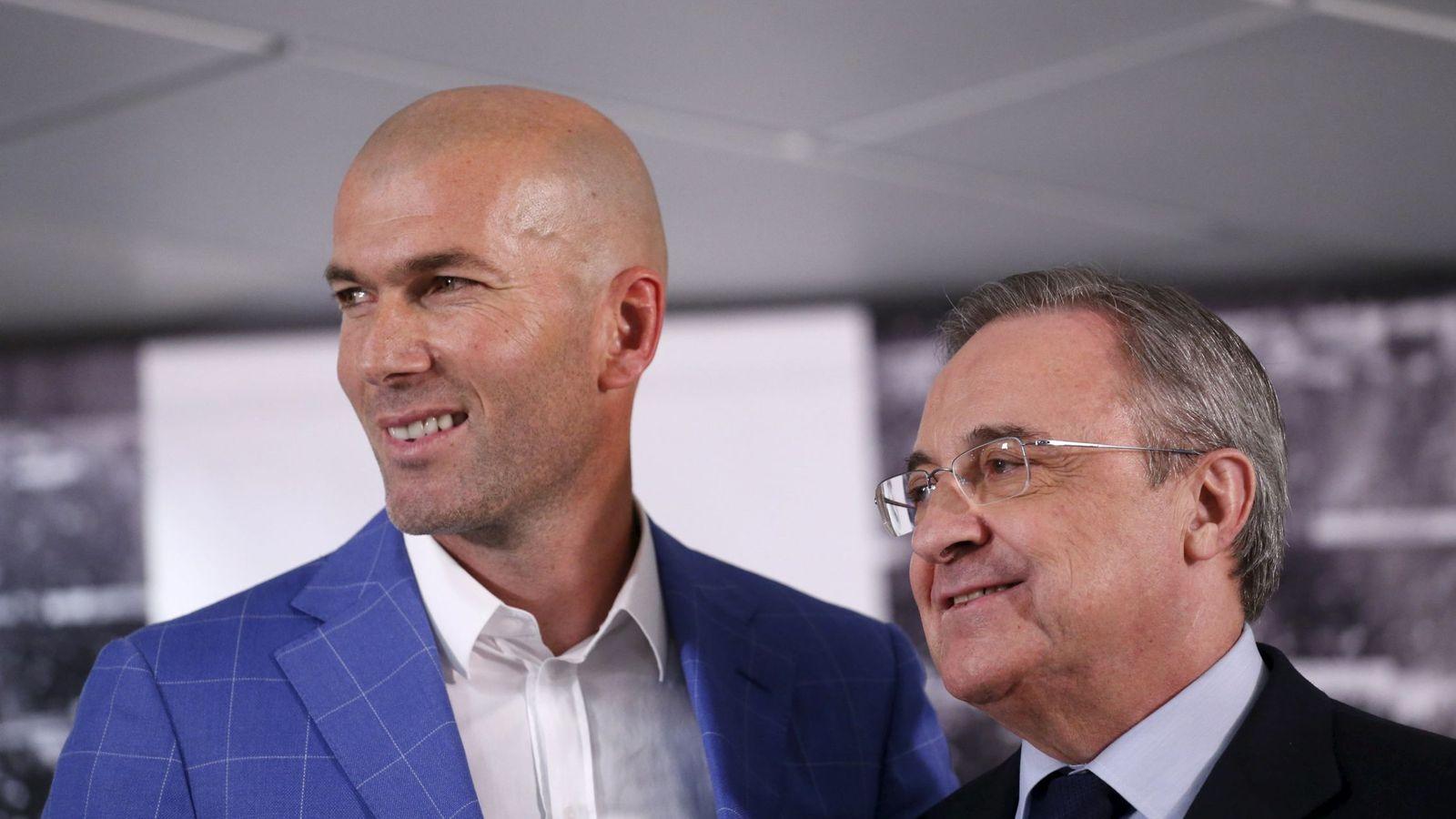 Foto: Zidane y Florentino Pérez, el día de la presentación del francés como entrenador. (Reuters/ Juan Medina)