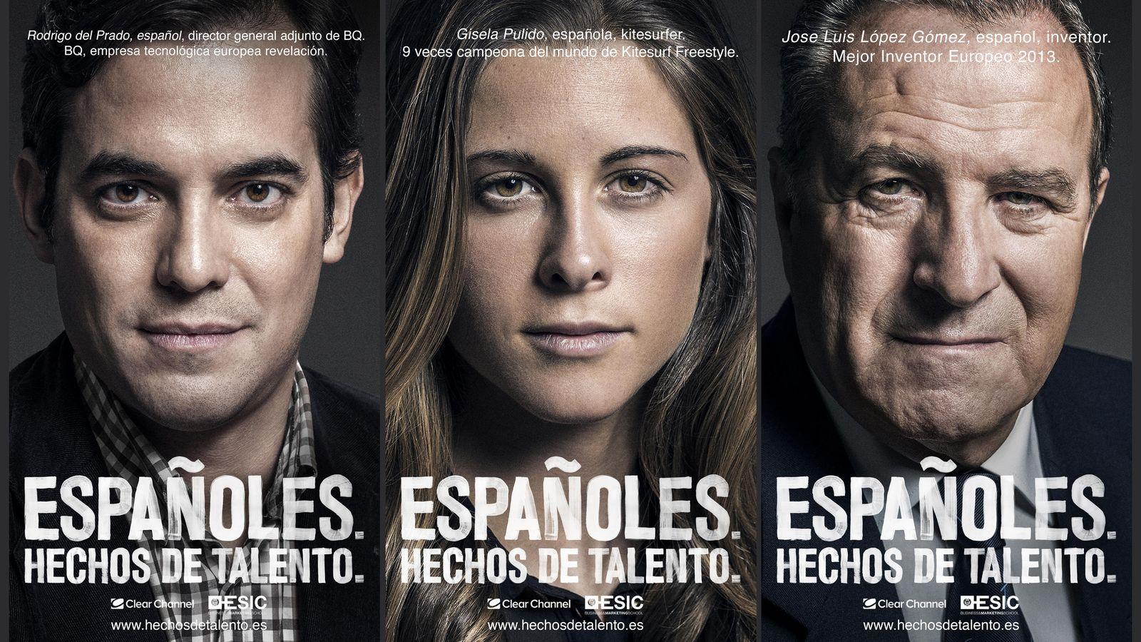 Foto: Tres de los seis rostros que protagonizan la segunda fase de la campaña 'Talento'. (Clear Channel)