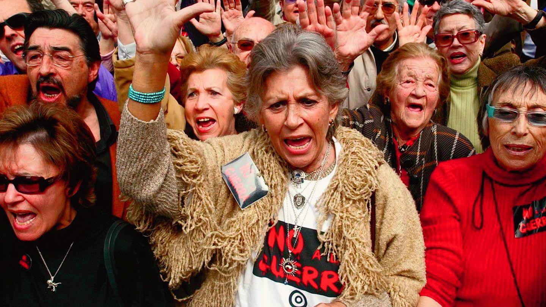 En una manifestación contra la guerra de Irak