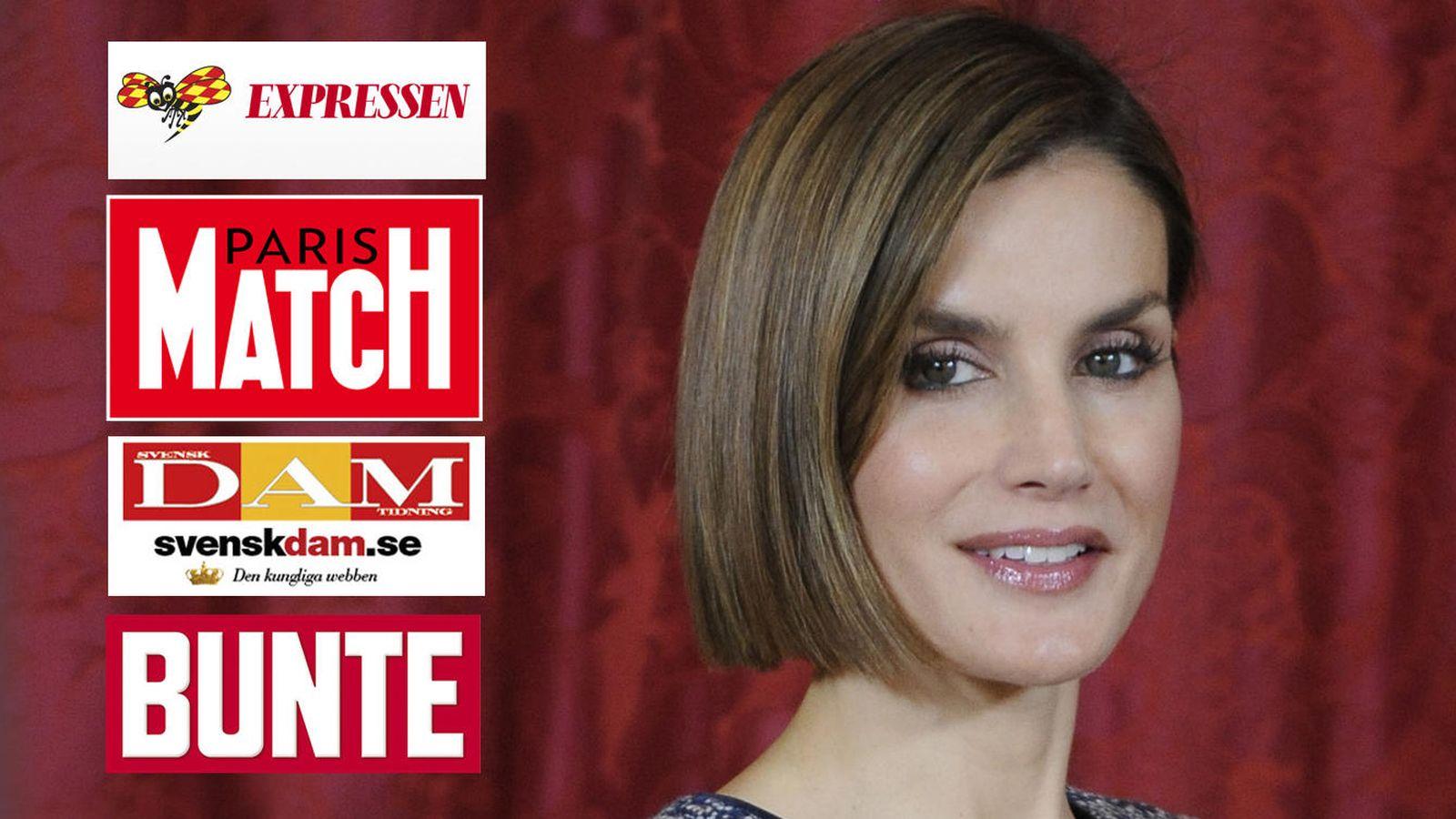 Foto: Doña Letizia con los logos de las revistas en las que aparece