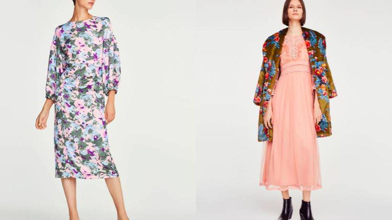 Vestido floral (99 €) y con brocado y tul (119 €), todo de Uterqüe.