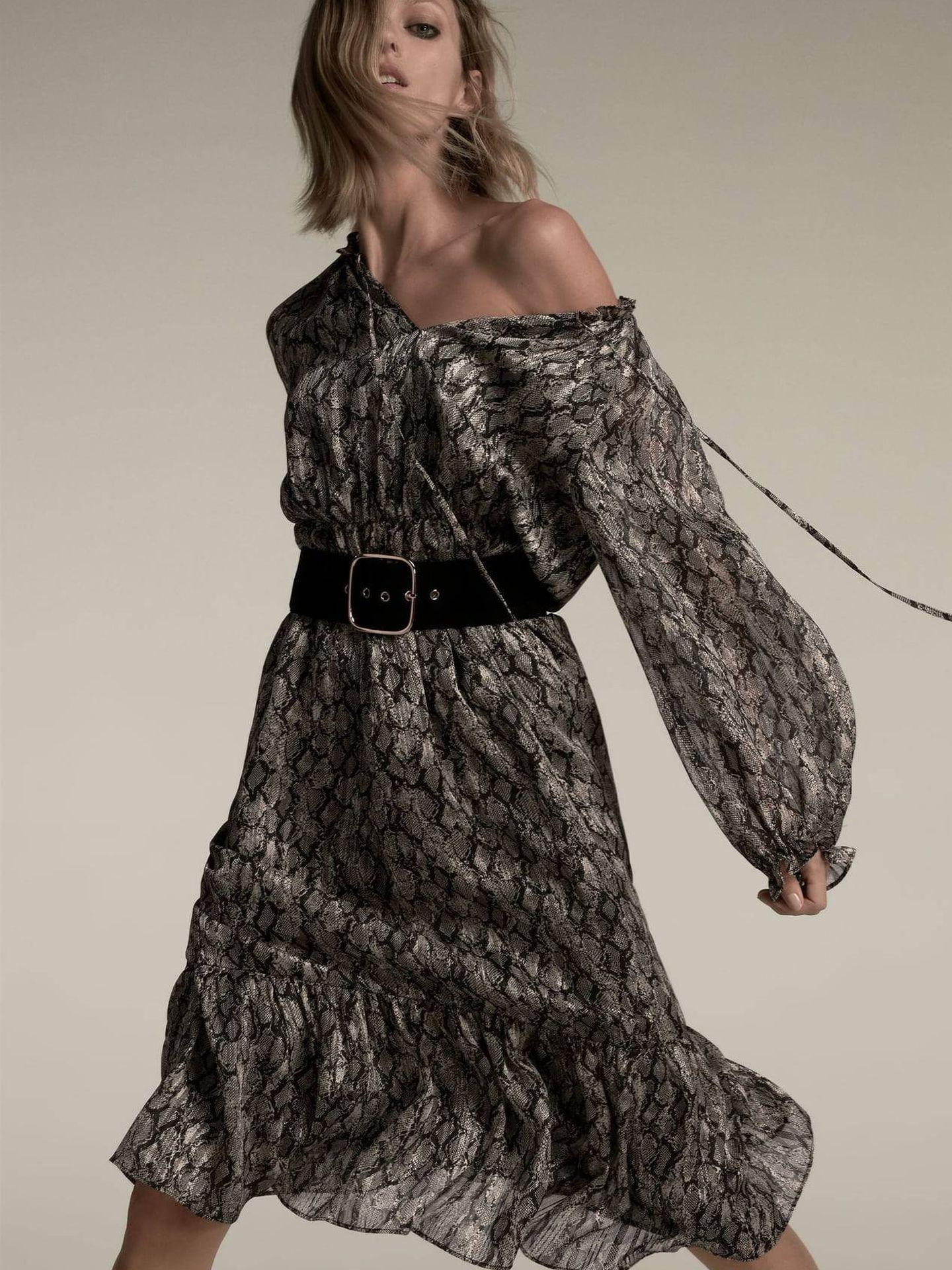 Vestido de animal print de Zara. (Cortesía)