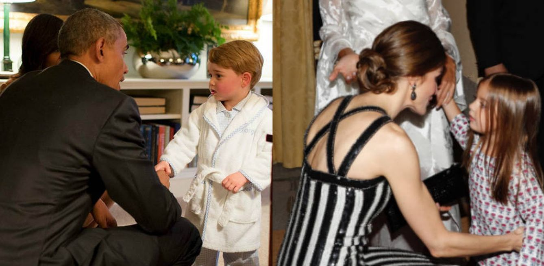 Foto: El príncipe George con Obama y la Reina Letizia con Antonia (Redes Sociales)