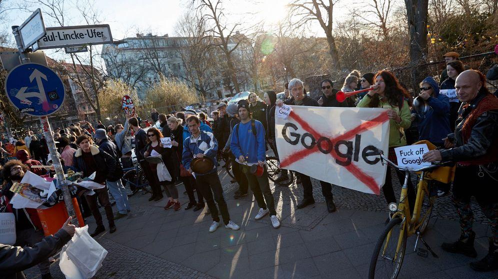 Foto: Protestas en Berlín en contra de la construcción de un campus de Google en una zona residencial. (EFE)
