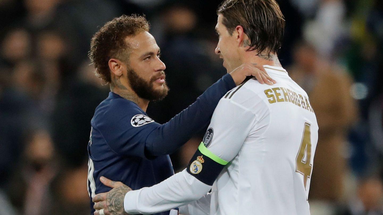 Neymar y Sergio Ramos en un partido de la Champions. (Efe)