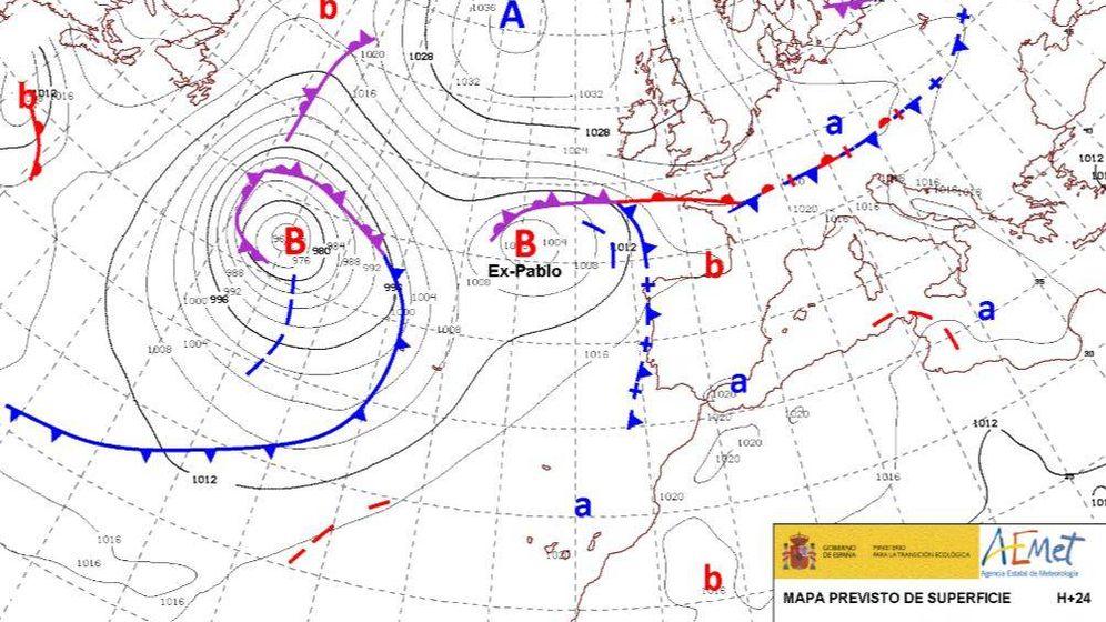 Foto: Mapa de isobaras de la AEMET