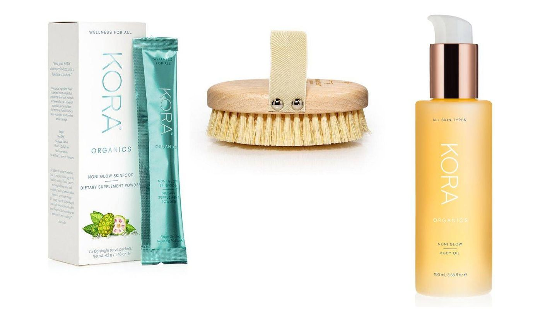 Noni Glow Skin Food, Dry Body Brush y Noni Glow Body Oil, todo de Kora Organics.