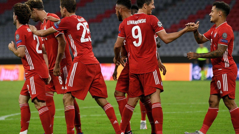 Celebración del cuarto gol (segundo de Lewandowski). Reuters