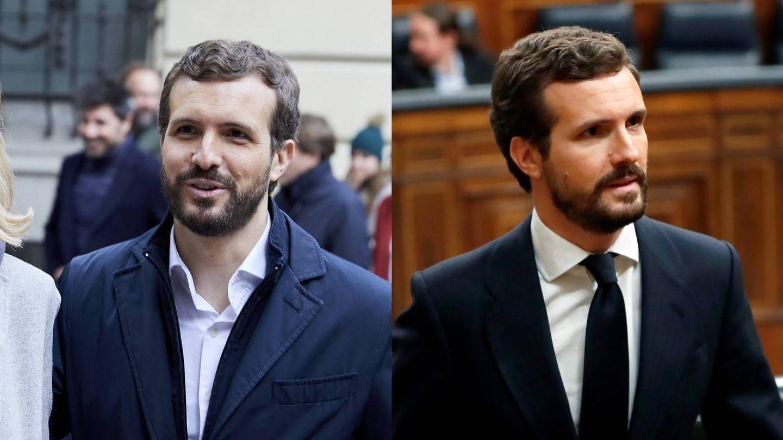 Pablo Casado, antes y después. (Cordon Press / Getty)