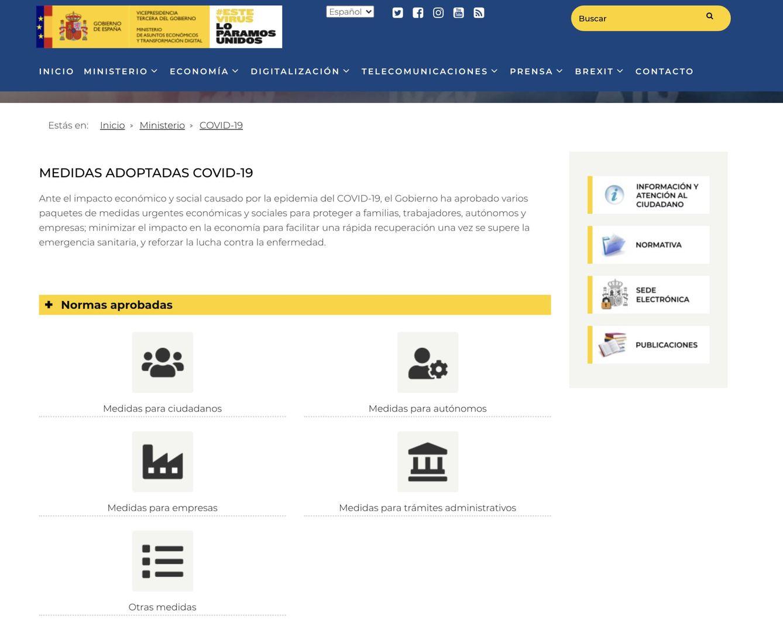 Web del Ministerio de Asuntos Económicos y Transformación Digital.