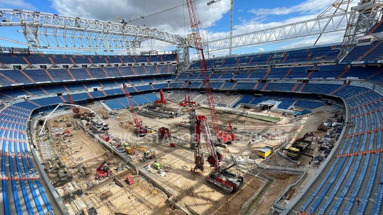 Imagen de las obras del estadio Santiago Bernabéu.
