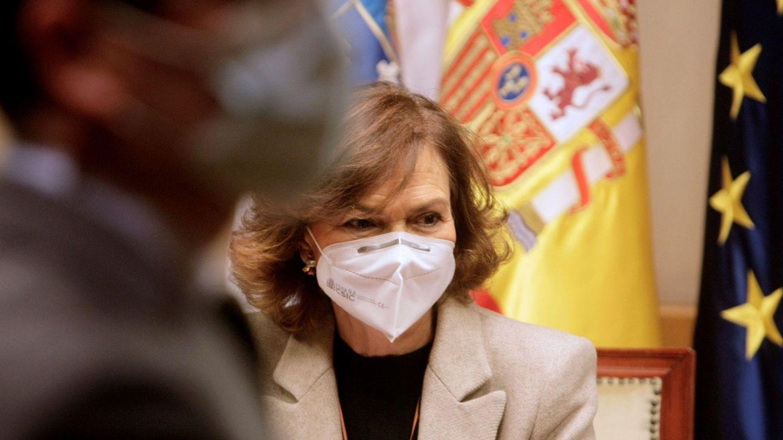 Carmen Calvo se reúne con los responsables de las administraciones implicadas en la recuperación del Pazo de Meirás. (EFE)