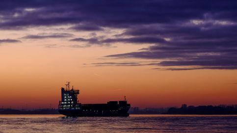 Contenedor varado en el río Elbe