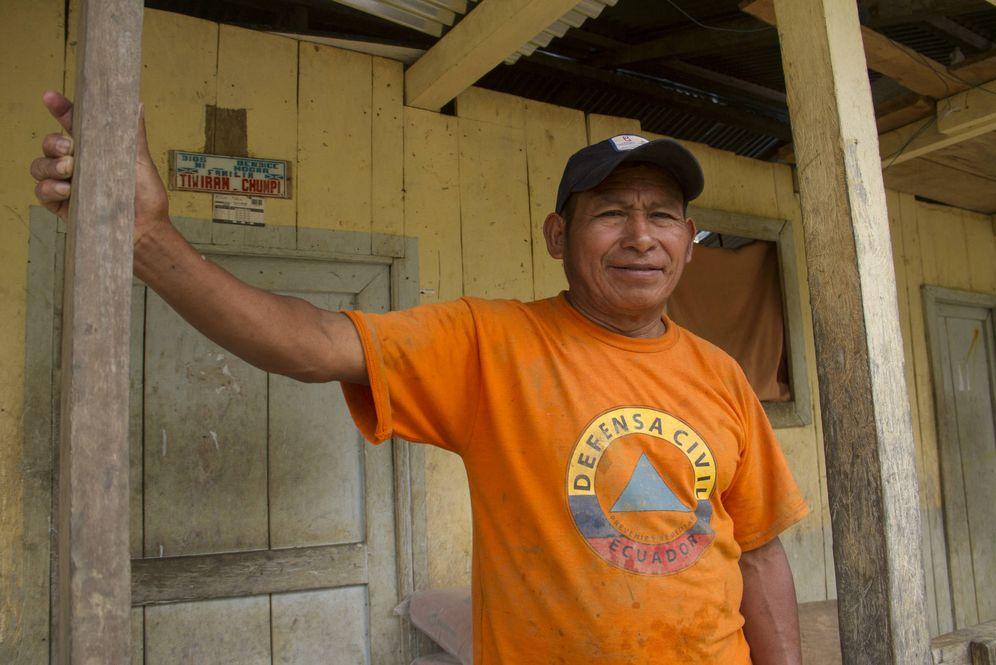 Foto: Alfonso Chinkiun, uno de los líderes de la comunidad Shuar en El Tink (H. Estepa)