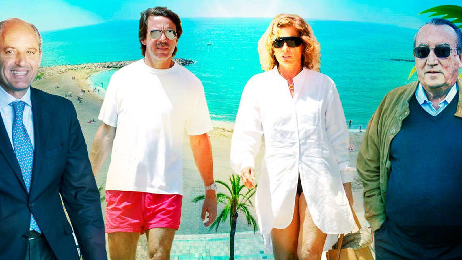 Foto: Camps, el matrimonio Aznar y Fabra en un fotomontaje de 'Vanitatis'