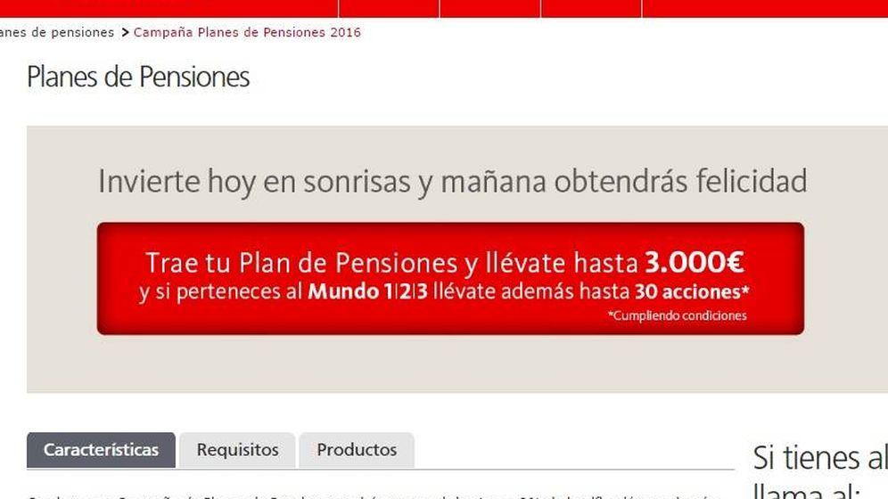 Foto: Publicidad de la campaña de planes de pensiones del Santander.