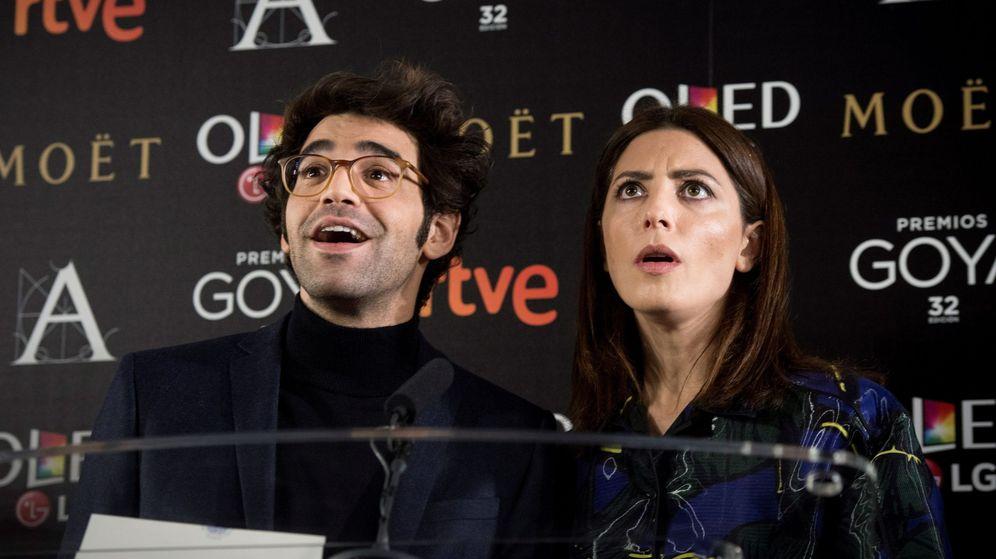 Foto: David Verdaguer y Bárbara Lennie en la lectura de los nominados a los Goya 2018. (Efe)